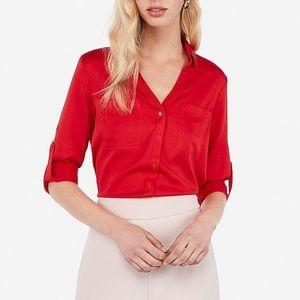Express Portofino Convertible Sleeve Red Blouse, M